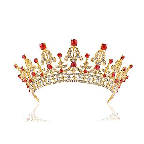 Frcolor Diadème Bandeau Strass Cristal Baroque Couronne Princess Mariage Tiare Bijoux de Cheveux de Mariée Doré avec Diamonds Blanc et Rouge