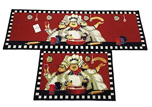 "EUCH Non-Slip Rubber Backing Carpet Kitchen Mat Doormat Runner Bathroom Rug 2 Piece Sets,15""x47""+15""x23"" (Three Chef)"