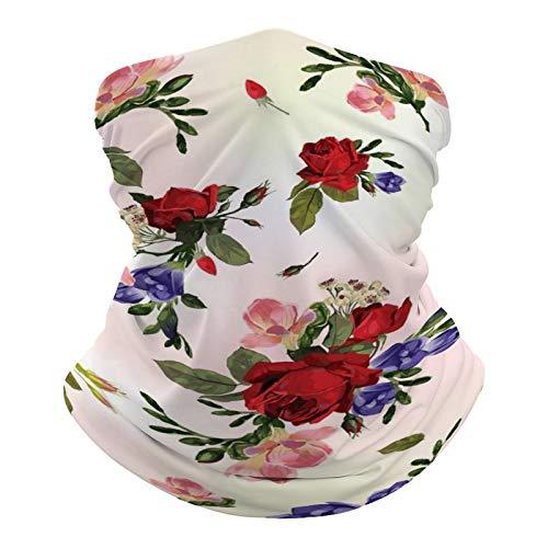 DKE&YMQ Pañuelo multifuncional unisex con patrón de bandana elástica, transpirable, para deportes, con resistencia a los rayos UV, pétalos de flores rojas, pedicel