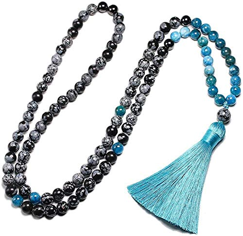 LKLFC Necklace for Women Men 8mm Natural Snowflake Obsidian Stone Beads and 108 Apatite Necklace for Women and Men Bracelets Meditation JewelryPendant Necklace Girls Boys Gift