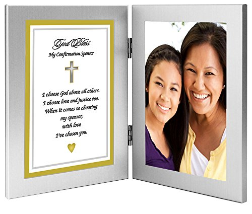 Confirmation Sponsor Gift, Sponsor Thank You Poem in Double Frame - Photo Added After Delivery