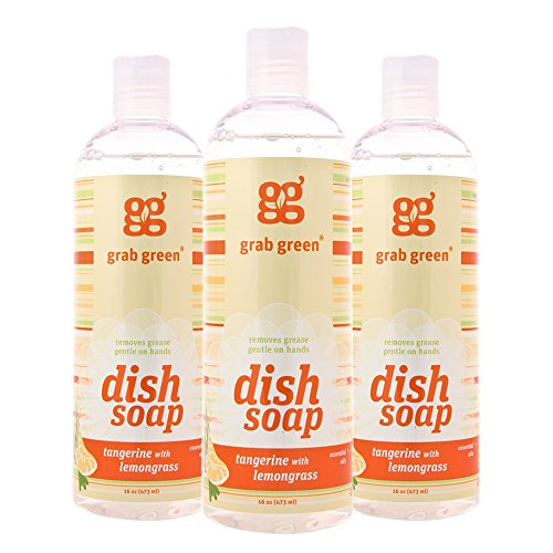 Grab Green Natural Liquid Dish Soap, Biodegradable,Tangerine with Lemongrass