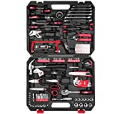 198-Piece Household Tool Set,EXCITED WORK General Home/Auto Repair Hand Tool Kit with Hammer, Pliers, Wrenches, Sockets and Toolbox Storage Case