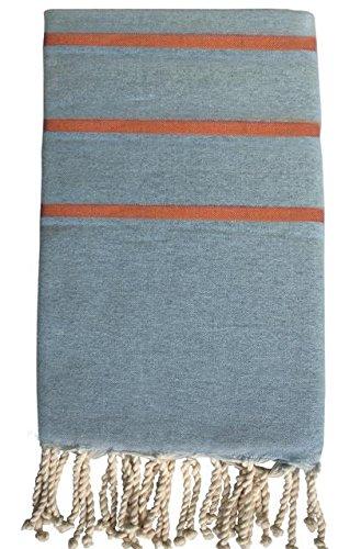 HR Decoraction Zoe Serviette de Plage, Coton, Orange, 200 x 100 x 0.5 cm