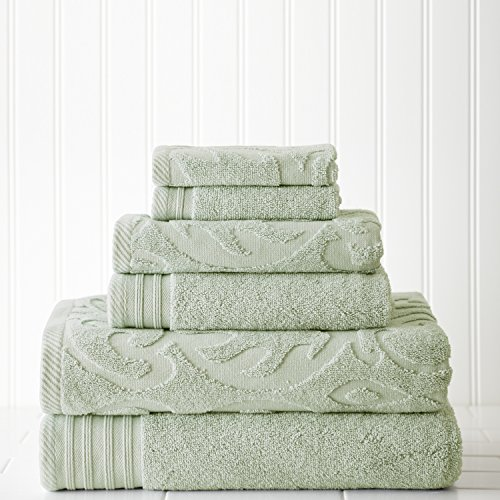 Amrapur Overseas 6-Piece Medallion Jacquard/Solid Ultra Soft 500GSM 100% Combed Cotton Towel Set [Soft Jade]