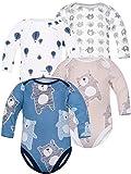 Sibinulo Jungen Mädchen Body Langarm 4er Pack Beige Bären Marineblau Bären Luftballons Graue Elefanten 98(2-3 Jahre)