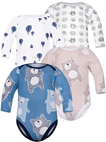 Sibinulo Niño Niña Body Bebé Manga Larga Pack de 4 Koala Beige Koala Azul Oscuro Globos Elefantes Grises 80(9-12 Meses)