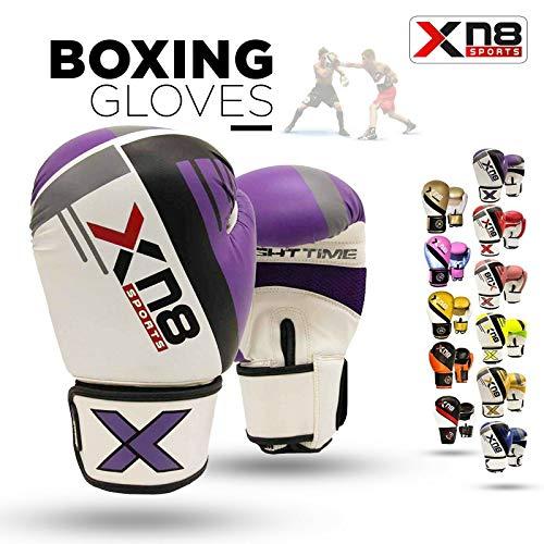 Xn8 Sports Unisex-Jugend-Handschuh G400 Rex Leder Boxen MMA Muay Thai Boxsack Sparring Fight Pad Kickboxen Kampfsport Training Handschuhe 396,9 g violett