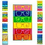 jilda-tex Strandtuch 90x180 cm Badetuch Strandlaken Handtuch 100% Baumwolle Velours Frottier Pflegeleicht (Sunglasses)