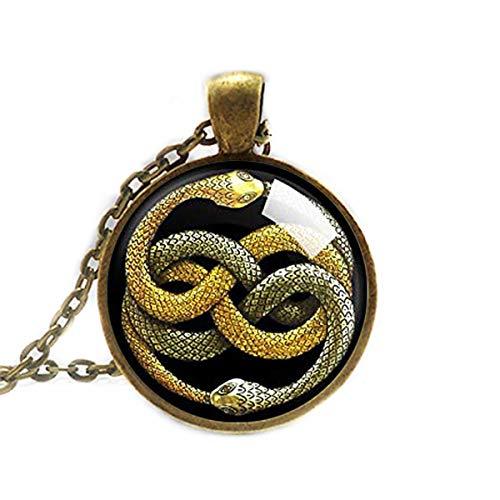 Ouroboros - Collar con colgante de serpiente infinito, joya de serpiente, collar con lazo de serpiente