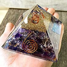 Opulence Metaphysical Large LG-70 MM Orgone Amethyst Pyramid with Quartz Energy Point Reiki Charged Energy Generator EMF Protection Crown Chakra Healing Meditation (Amethyst)