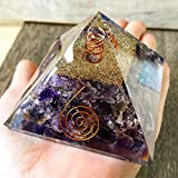 Opulence Metaphysical X-Large LG-75 MM Orgone Amethyst stone Crystal Certified EMF Protection Pyramid With Quartz Energy Point Reiki Charged Energy Generator Crown Chakra Healing Meditation (Amethyst)