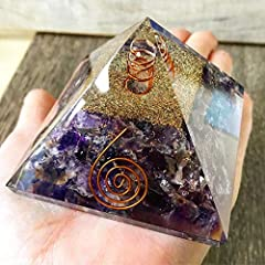 PACKAGING -:1 (One) Orgone pyramid Natural Amethyst quartz pyramid EMF protection reiki healing gemstone crystal pyramid for positivity; PYRAMID SIZE - Height-70 mm,Base Width-75mm'Original Item comes in our Box along with Pyramid cloth pouch AMETHYS...