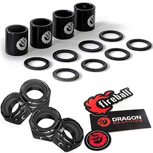 Fireball Dragon Speed Kit for Skateboard + Longboard Bearing Performance | Spacers, Speed Rings + Axle Nut Set (Black)