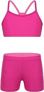 FEESHOW Girls' Gymnastics Dance Crop Tank Top with Shorts Set for Activewear Swimwear