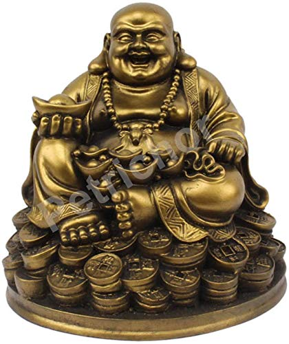 Bro Mart Laughing Buddha Sitting on Luck Money Coins Carrying Golden Ingot for Good Luck & Happiness (5 Inches) - Home Deocration Gifting (Made in India)