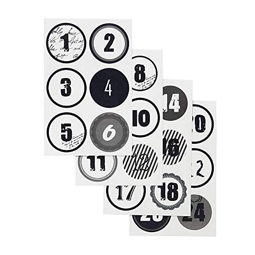 24 cijfers Stickers Zwart/Wit - Rond 4cm - Adventskalender DIY kalendernummers Eenvoudig aan te brengen en verwijderbaar