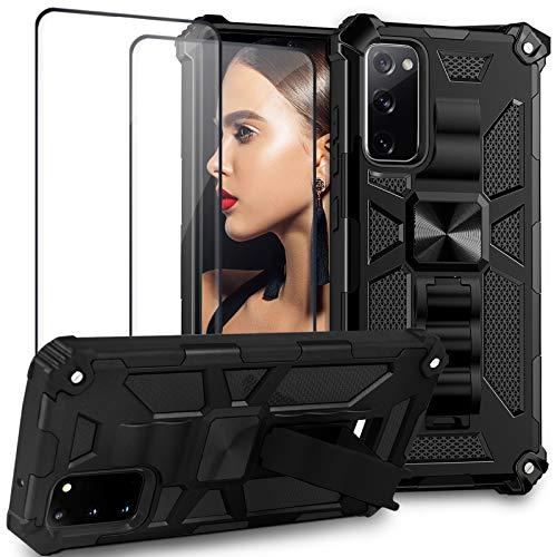 Galaxy S20 FE 5G Hülle Case Kompatibel mit Samsung Galaxy S20 FE Handyhülle Silikon+PC Bumper Outdoor Shockproof Armor Schutzhülle mit Ständer Magnetisch Hüllen [2 Stück ] S20 FE Folie Panzerglas