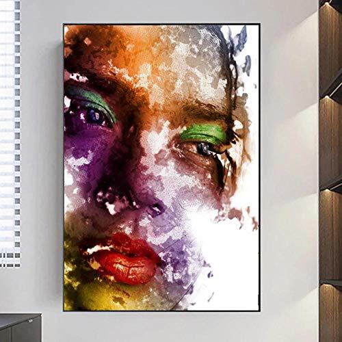 Zqylg Modern Oil Pianting on Canvas Art Posters and Prints Arte de la pared Pintura Maquillaje Mujer Imágenes para la sala de estar Decoración del hogar Arte de la lona 20x28 pulgadas Sin marco