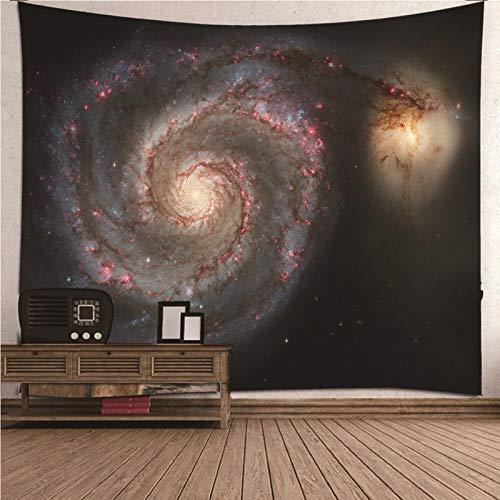 Daesar Tapiz Habitacion,Cielo Estrellado Tapiz de Tela Pared Poliéster Tapiz Paredes Negro Rojo 150x150CM(Ancho x Altura)
