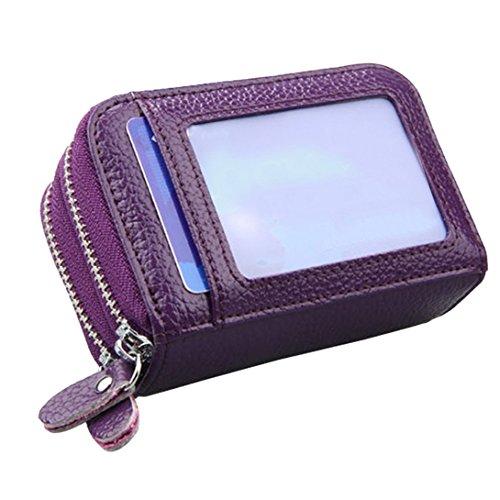 Feoya - Monedero Billetera de Cuero con Cremallera Doble Tarjetero Cartera Gran Capacidad y Espacio para 11 Tarjetas para Mujer Hombre - Púrpura