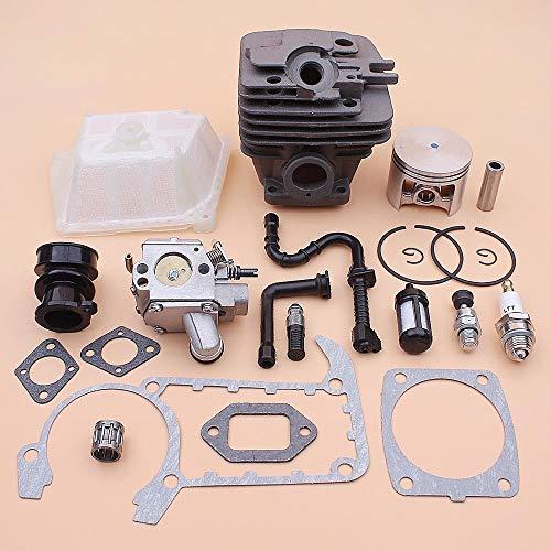 NAWQK 49 mm Cilindro del pistón del carburador Kit de Ajuste for el Stihl MS361 MS 361 de Air Fuel Oil Line Filtro colector de admisión Junta válvula de descompresión
