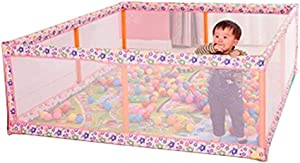 Portable Oversized Fence for Children with Matte Protector and 100 Balls  Activities for Baby Safety Indoor and outdoor play area  Color  Pink