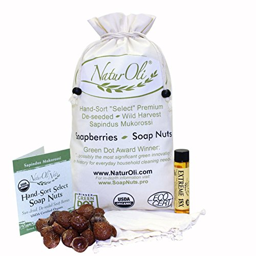NaturOli Soap Nuts/Soap Berries. 2-Lbs USDA Organic (480 Loads) + 18X Bonus! (12 Loads) Select Seedless, 2 Wash Bags, Tote Bag, 8-pgs info. Organic Laundry Soap/Natural Cleaner. Processed in USA!