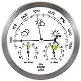 airself Estación meteorológica analógica para Interiores y Exteriores - con barómetro, termómetro, higrómetro - Acero Inoxidable