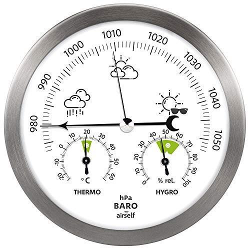 Stazione meteorologica analogica in Acciaio Inox - con barometro, termometro e igrometro - da Interni ed Esterni