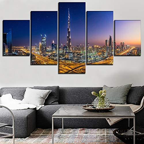 Wandkunst Gemälde Gedruckt Plakate Rahmen 5 Stücke Dubai City Glow Night Segeltuch Bilder Zuhause Dekor Wohnzimmer,A,40×60×2+40×80×2+40×100×1
