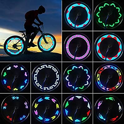 Bike Wheel Lights, LED Waterproof Bicycle Spoke Light, Bright Safety Tire Lights with Auto ON/OFF, 30pcs Changes Patterns Cool Tire Lights for Mountain Bike/Road Bikes/Hybrid Bike/Folding Bike