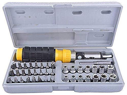 Sahufy Metal Multipurpose Screwdriver Socket Set Bit Tool Kit for Home, Car & Bike (Multicolor, Small, 41Pctk)