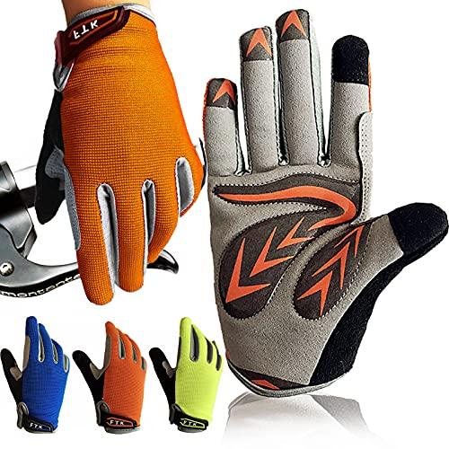 Amrta Fahrradhandschuhe Kinder MTB Jungen Mädchen 2-11 Jahre Roller Skate Sport Handschuhe (Vollfinger Orange, XL)