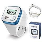 Golf Buddy Voice 2 Golf Rangefinder Talking Golf GPS Devices for Hat, Golf Distance Range Finder for Golfers, 14 Hours Battery Life, Water Resistant (White/Blue) Bundled with Silicon Strap Wristband