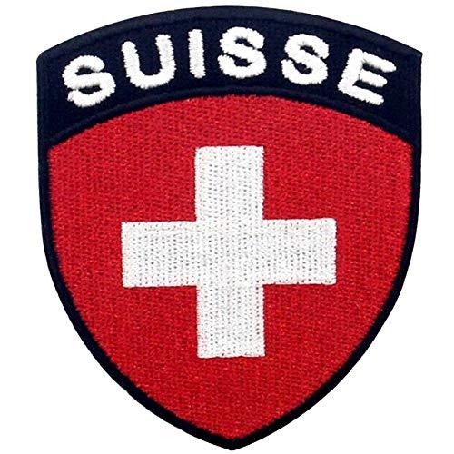 Schweiz Schild Flagge Bestickter Aufnäher zum Aufbügeln/Annähen