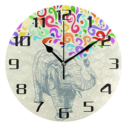 F17 Reloj de pared redondo colorido elefante animal print 9.8 pulgadas PVC creativo decorativo escritorio reloj para cocina, dormitorio, baño, sala de estar aula