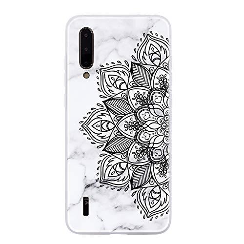 ChoosEU Compatible con Funda Xiaomi Mi 9 Lite / A3 Lite Silicona Dibujos Mármol Creativa Carcasas para Chicas Mujer Hombres, TPU Case Antigolpes Bumper Cover Caso Protección - Flor Negra