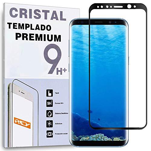 REY Protector de Pantalla para Samsung Galaxy S8 Plus Curvo Negro, Cristal...