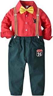 Mornyray Boy's Christmas Suit Set Bow Tie Long Sleeve Shirt with Matching Suspender Pants