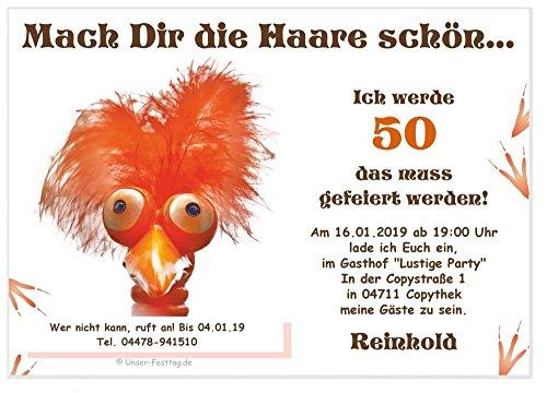 Lustige, Witzige Einladungskarten für runden Geburtstag - kostenloser Eindruck Ihres Textes 40 Karten Din A6