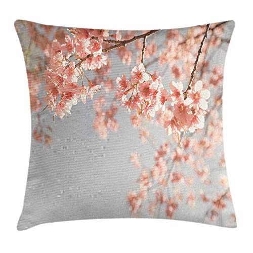 JIMSTRES Peach Throw Pillow Cushion Cover, Japanese Scenery Sakura Tree Cherry Blossom Nature Photography Coming of Spring, Decorative Square Accent Pillow Case, Bluegrey Coral 18x18 inches