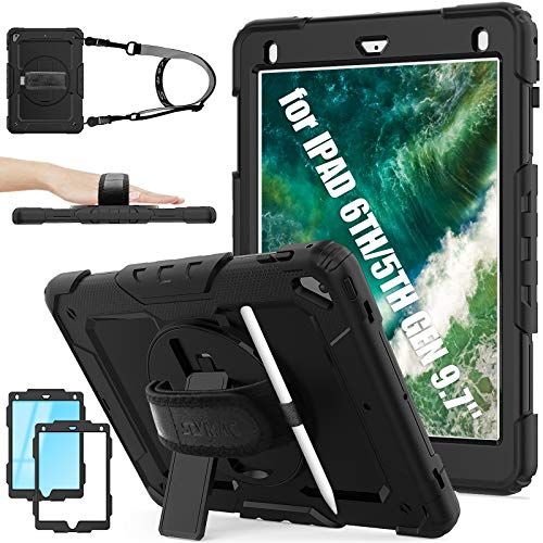 SEYMAC Stock iPad 6th/5th Generation Case, Shockproof [Full-body] Protective Case with 360 Rotating Stand Pencil Holder [Screen Protector] & [Hand Strap] for New iPad 9.7 Inch 2017/2018 (Black)