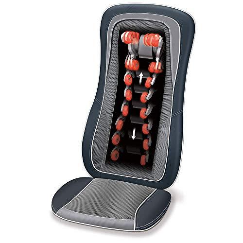 Beurer MG 315 Shiatsu Massage-Sitzauflage, elektrisches Massagegerät zur Nacken- und Rückenmassage, mit Licht- und Wärmefunktion, automatische Körperscan-Funktion, in schwarz-grau