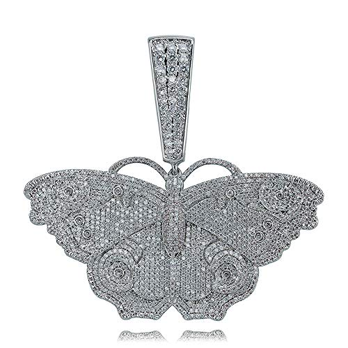 Hip Hop Iced Out 3D Vlinder Ketting 18k Goud/Zilver Bubble Charms Cubic Zirconia Lab Diamond Hanger voor Dames/Heren