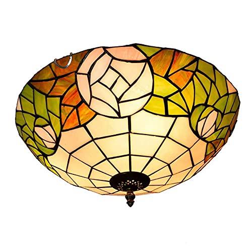 DALUXE Tiffany Style led Techo luz Blanca Verde Sombra de Cristal Simple Techo luz Rosa lámpara de baño Sala de Estar balcón balcón 16 Pulgadas habitación