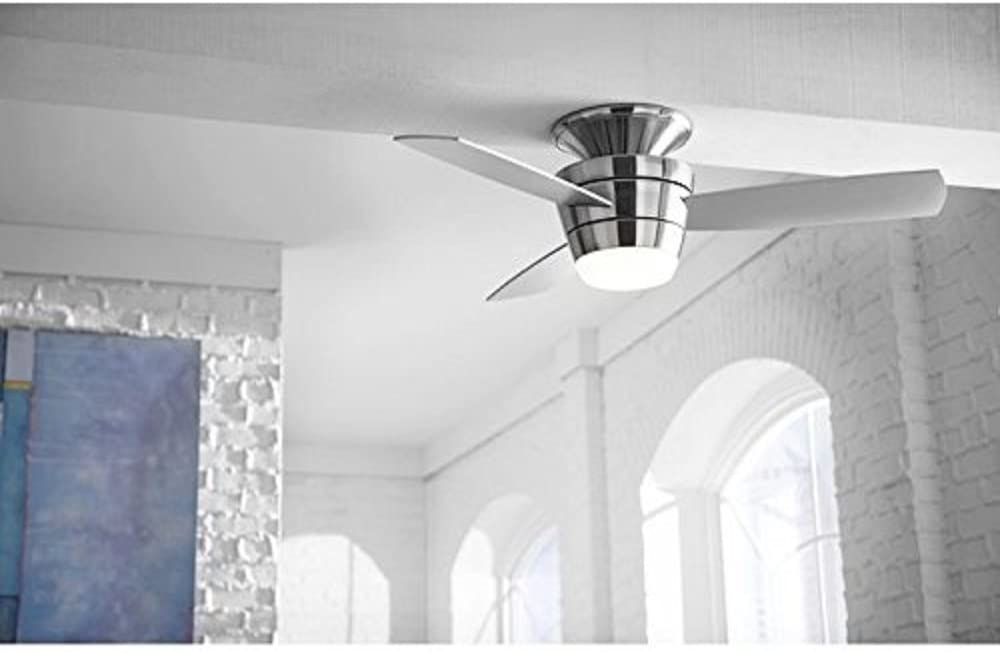 Buy Harbor Breeze Mazon 44 In Brushed Nickel Flush Mount Indoor Ceiling Fan With Light Kit And Remote 3 Blade Online In Indonesia B071gcwshj