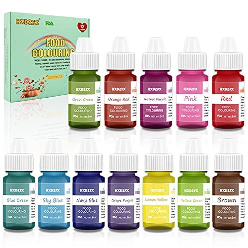 Coloranti Alimentari a 12 colori - Colorante Alimentare Liquido Concentrati per Cuocere, Decorare, Glassare e Cucinare - Coloranti Alimentari Vibranti per Fondente, Slime e Mestieri - Flaconi di 6 ml