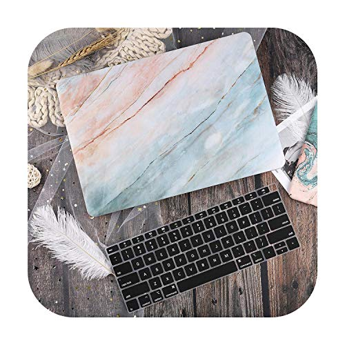 Peach-Girl Hard Plastic Shell Case with Keyboard Cover for MacBook Air 13 11 Pro 13 15 Touch Bar 2019 2020 A2289 A2251 A2159 A1932-Pink Blue Marble-Model (A1502)