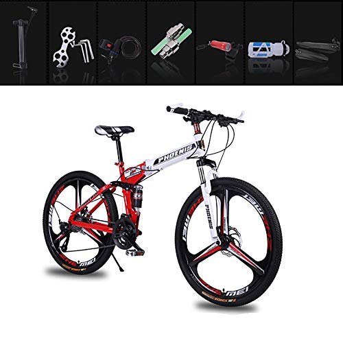 ZHIPENG Men's Folding Bikes 26-Inch Mountain Bike Variable Speed Bike, Thickened Suspension Fork, Strong Shock Absorption, Strong and Reliable,Red